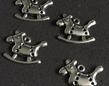 4 pc Christmas Rocking Horse Charms 11mm Zinc Metal Alloy. Charm Bracelet. Floating Charms. Charm Necklace. Pandora Charms