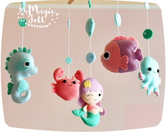 Baby mobile ocean Crib mobile Under sea baby girl mobile Mermaid baby mobile Sea horse baby Shower gift Sea creatures nursery Mermaid