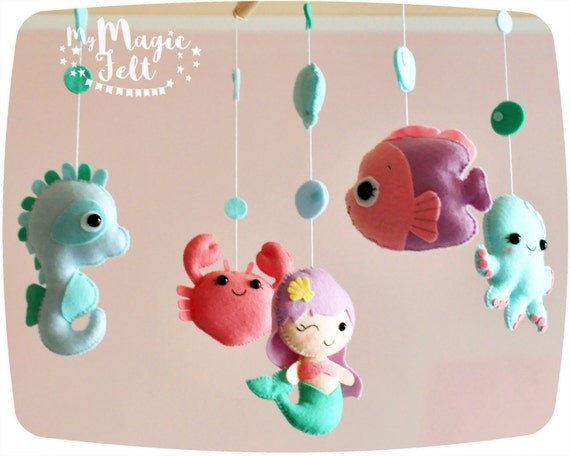 Baby mobile ocean crib mobile under sea baby girl mobile for Sea animal baby mobile