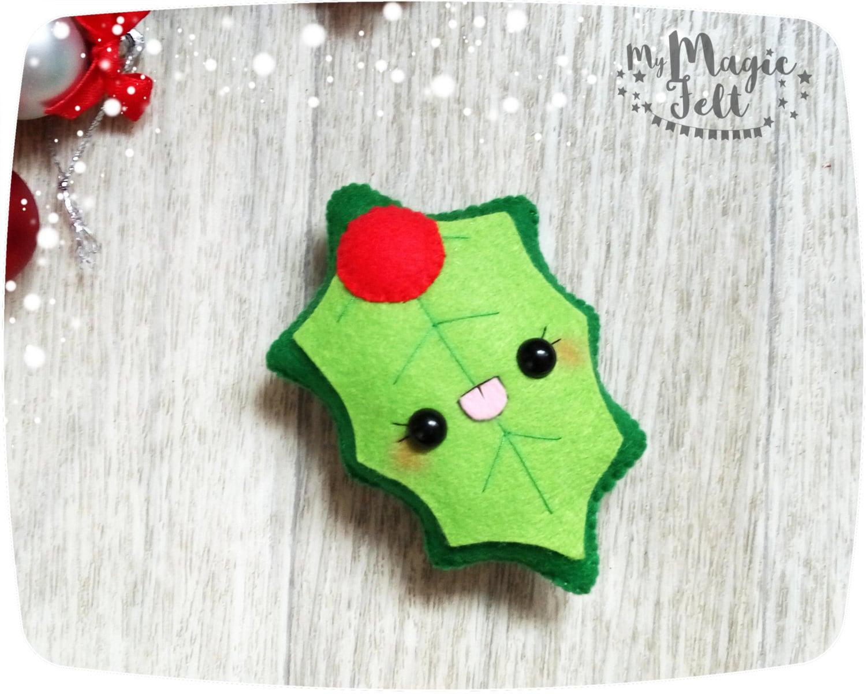Christmas ornament mistletoe felt ornaments mistletoe - Adornos navidenos caseros ...