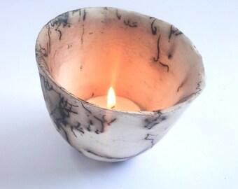 Tea light holder, Ceramic horse hair fired (047)