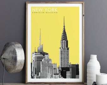 New York Skyline - City Prints - New York Art Print - Minimalist Print - CHRYSLER BUILDING - Large Wall Art Print - Travel Print
