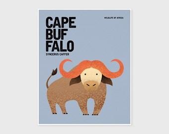 CAPE BUFFALO, Nursery Animal Print, Wildlife of Africa, Kids Poster, Wall Art Print, Kids Prints, Retro Poster