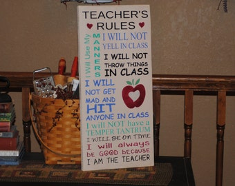 "STENCIL, Teacher's Rules, Subway Style Stencil, 11.25"" x 24"""