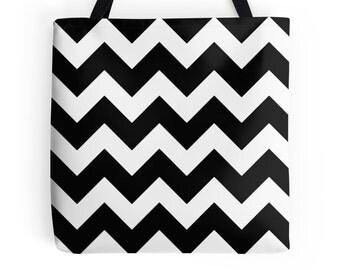 Chevron Tote, Black Tote, Black White Bag, Black White School Bag, Black White Bookbag, Chevron Bag, Chevron Grocery Bag