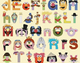Cross stitch pattern, easy pattern - 272 x 339 stitches - muppet alphabet characters - counted cross stitch - M557