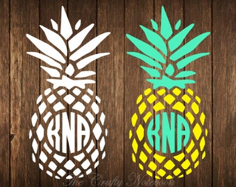 Personalized Monogram Pineapple Decal Vinyl Sticker • Vehicle • Yeti • Tumbler • Choose Your Color/Size • Large Orders Welcome
