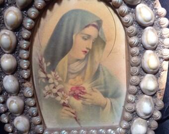 Antique sailors seashell art religious print