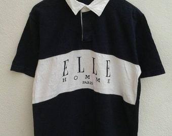 Vintage 90s ELLE Homme Paris Chest Block Spellout Stadium Rugby Polos Shirt Limited Edition