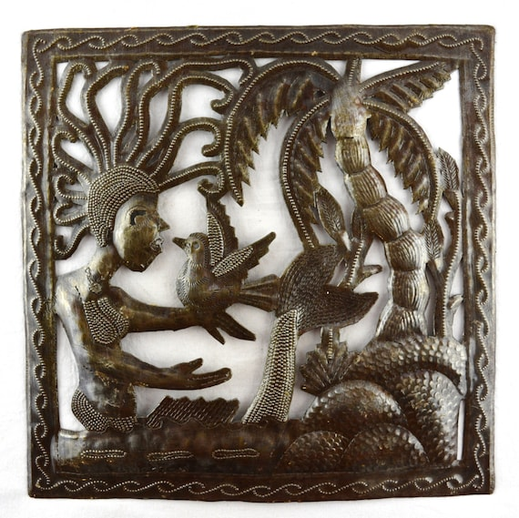 "Small Mermaid with Palm Tree - Metal Wall Art  11"" x 11"""
