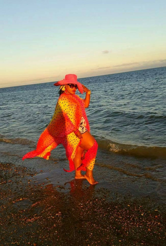 Gorgeous   multicolour  chiffon  fabric  swimsuit coverup beach wear kaftan dress in orange ,pink and yellow.