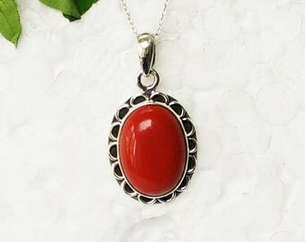 Gorgeous RED CORAL Gemstone Pendant, Birthstone Pendant, 925 Sterling Silver Pendant, Fashion Handmade Pendant, Free Chain, Gift Pendant