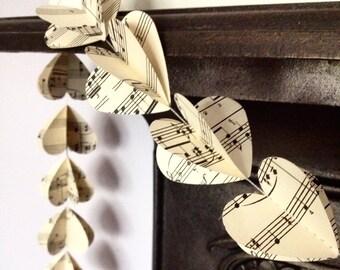 3D Heart Garland - Vintage sheet music