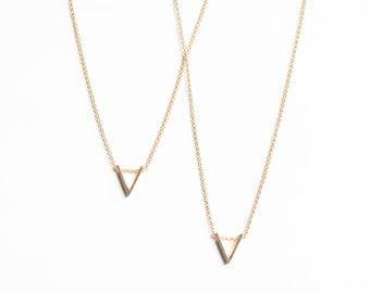 Minimal gold tone triangle necklace | geometric necklace