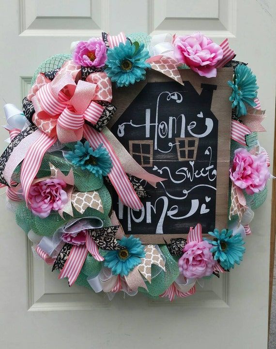 Bright colorful summer front door wreath by for Colorful summer wreaths