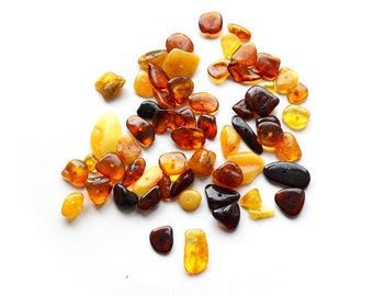 10g Multi Chips & Nuggets Drilled Loose Baltic Amber Beads - teething necklaces-bracelets-crafts-supplies