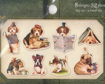 Dog Tracing Paper Stickers - Q-Lia Flake Stickers - Set of 32 - Reference H3471
