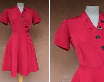 1940's Red Dress Bakelite Buttons - 40's Buttoned Up Dress - Size S