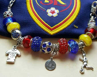 "Ladies Jewelry RSL Fans ""REAL'S Still Running""  European Style Charm Bracelet ~ Murano Glass Lampwork Beads, CZECH Crystal Soccer Ball Beads"
