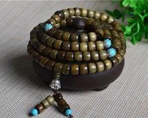 108PCS 7x9mm Natural Phoebe Gold Cat Eye Wood Buddha Mala Prayer Meditation Beads Barrel Drum Loose Beads E107