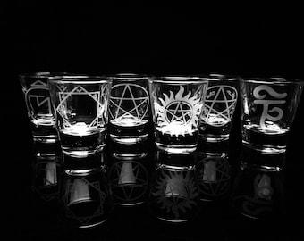 Supernatural - Shot Glasses - Set of 6- Angel Banishing Sigil -Devil's Trap -Anti-Possesion  -Tibetan Tulpa -Pentagram -Reaper Trap