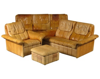 Set of Fine Leather Upholstered Living Room Furniture by De Sede of Switzerland
