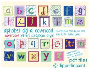 alphabet 53 blocks printable pdf lowercase large colorful alphabet blocks - Printable Art For Kids
