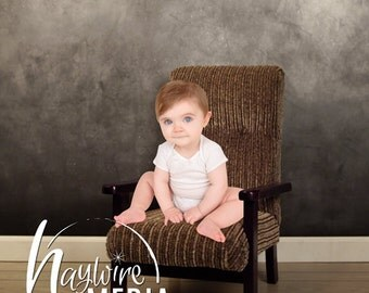 Baby, Toddler, Child, Wooden Chair Photography Digital Studio Backdrop Prop for Photographers with PNG Coverup Layer on Chalkboard Wall