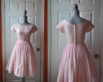 Vintage 1950s dress | pink silk chiffon 50s dress • Swan Lake dress