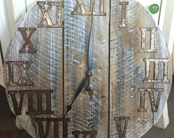 """20"""" Reclaimed Wood Clock Steel Roman Numerals FREE SHIPPING"""