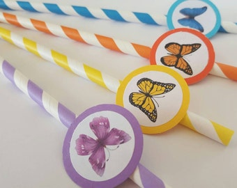 12 Butterfly Themed Paper Straws