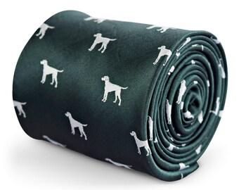 Forest green animal print hound dog tie by Frederick Thomas