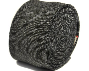 black and white herringbone 100% tweed wool tie by Frederick Thomas FT2137