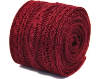 cable knitted maroon burgundy dark wine red  skinny knitted tie by Frederick Thomas FT2213