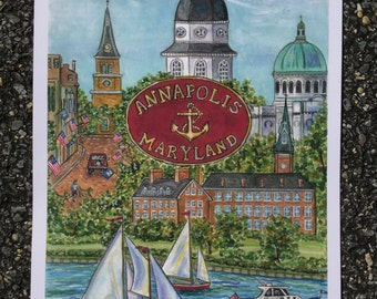 Annapolis Maryland print of original warercolor measures 11 x 15  3/4