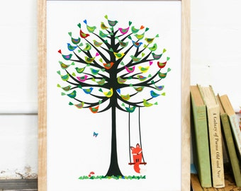 Limited Edition Archival Print, Summer Tree - Birds in Tree, Summer, Red Fox, paper-cutting, modernised Polish Folk Art, tree of life