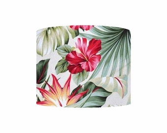 Birds of Paradise Tropical Hawaiian Barkcloth Handmade Lampshade - Cream