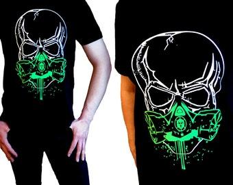 Anarchy Tshirt,Skull,Mask,Cyber Goth Biohazard,Black,XS S M L XL 2XL 3XL 4XL 5X, Fluorescent, Metallic,Pearlescent,Sparkle Glitter