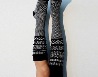 Black Knee High Socks Scandinavian Pattern