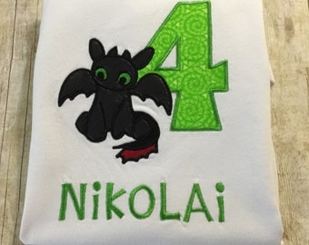 Toothless Dragon Personalized Birthday Shirt