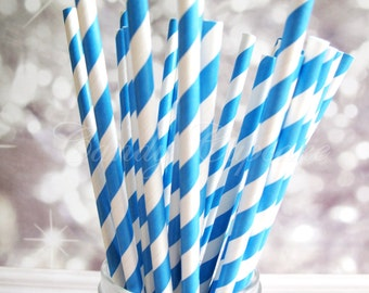 BLUE WHITE STRIPE 25 Paper Straws With Blue White Stripes, Wedding, Party, Birthday, Baby Shower Paper Straws