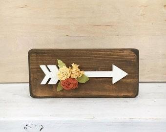 Arrow with Fall Tattered Flowers | Bits & Blocks