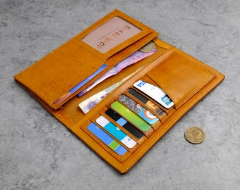 Women's Man's wallet, Handmade leather wallet,eather clutch bag, money clips,  oblong wallet, folded-wallet, cowhide leather walle