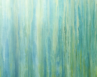 "ABSTRACT PAINTING / Blue Green Abstract / Original Painting / Oil on Canvas / XLarge Painting 60"" X 48"", ""Blue Rain''"