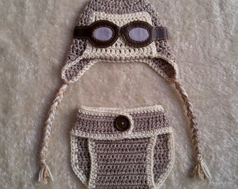 FREE STANDARD SHIPPING-Crochet baby aviator diaper cover set...Coupon code:THANKYOU18