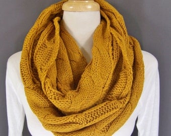 Mustard cable knit infinity scarf soft chunky knit circle endless loop long circular mustard yellow scarf cabled scarf fall winter scarf