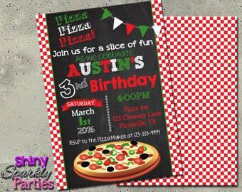 PIZZA PARTY INVITATION - Pizza Invitation - Pizza Party Invite - birthday pizza party invitation - Pizza Birthday - Italian Little Chef diy