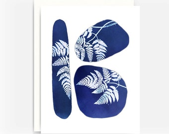 Blank Greeting Card, Note Card, A2 Card, Fossils and Ferns Note Card