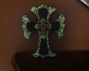 Hand Painted Wood Layered Cross