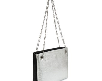Leather Crossbody Bag, Silver Black Leather Shoulder Bag, Women's Leather Cross body Bag, Leather bag KF-588
